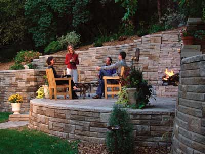 Kleinu0027s Final Design Introduced A Raised Patio, Sweeping Curves In The  Walls, And A Built In Fire Pit Wrapped In Natural Chilton Stone.